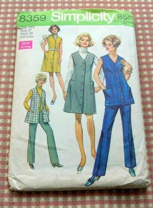 Pants and Dress Simplicity 8359 Vintage 60s Sewing Pattern