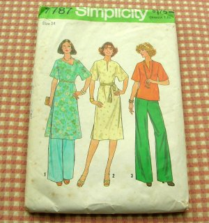 Vintage 70s Pants Tunic Simplicity 7787 Sewing Pattern