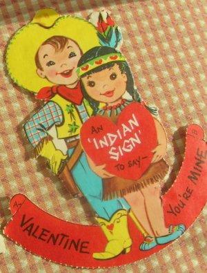 Vintage 50s Valentine Cards Lot Cowboy, Indian, Cat, 3D