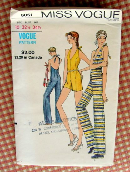 Halter Jumpsuit  Vintage Miss Vogue Sewing Pattern 8051