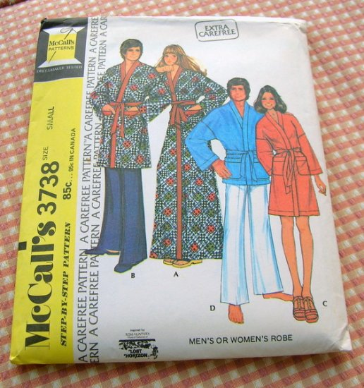 Unisex Robe 70s Vintage Sewing Pattern McCall's 3738