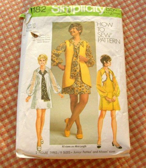 Mod Mini Dress Bolero Vest Vintage Sewing Pattern Simplicity 9182