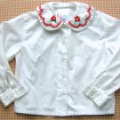 Hanna Andersson Red Flowers Embroidered Blouse Girls Size 100 Hannah Anderson
