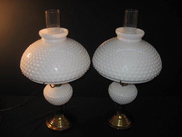 #38  Pair White Milk Glass Herricane Electric Table Lamps