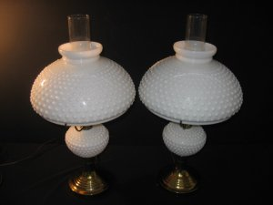 #38  Pair White Milk Glass Herricane Electric Table Lamps