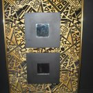#18  ReDesigned Wall Art with Gold Metal Framed  Gold & Black Vintage Geometric Fabric and Mirrors