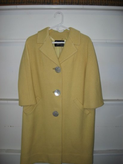 #12 Vintage Womens Yellow Coat with Pearl Buttons