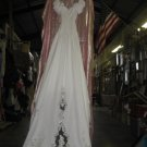 #1  White Beaded & Lace Wedding Dress  Size 12 18in Across Waist
