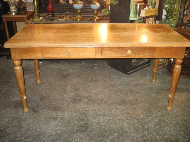 Solid Wood Narrow Dining Table W Two Drawers Great For Bench Seats