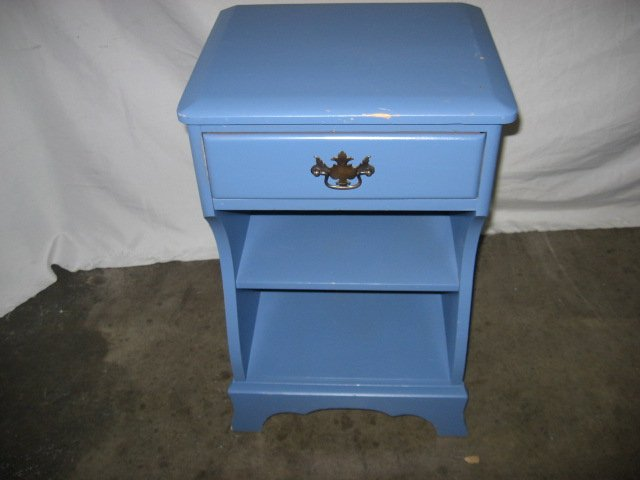 #21  Vintage Solid Wood Night Stand with Drawer Painted Blue