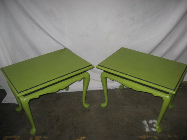 #6  Pair Vintage End Tables Painted Green with Black Details