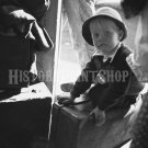 Boy on Suitcase Waiting Greyhound Bus Photo Vintage Old Photo Historic Print Boy Hat 1940s Tennessee