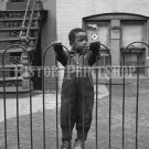 A Boy on the Fence in Washington D.C. African American Negro Vintage Old Photo Historic Print 40s