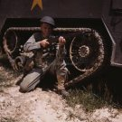 WWII GARAND RIFLE SOLDIER PHOTO US ARMY 1942 FORT KNOX MILITARY 40S 1940'S TANK GUN VINTAGE HISTORIC