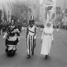 UNCLE SAM LADY LIBERTY PARADE PHOTO RED CROSS NURSE 1918 VINTAGE RETRO HISTORIC