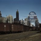 CHICAGO TRAIN YARD PABST PBR BEER VINTAGE OLD PHOTO HISTORIC SIGN RAILROAD JACK DELANO 40S