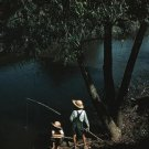 FISHING POLE BAYOU CAJON BOY PHOTO VINTAGE POST WOLCOTT