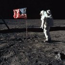 1969 BUZZ ALDRIN PHOTO ASTRONAUT APOLLO 11 WALK ON MOON US FLAG