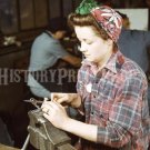 1942 WOMAN WORKER PHOTO REAL ROSIE THE RIVETER WORLD WAR 2 WWII GIRL GUN OLD