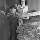 WWII PROPAGANDA PHOTO WOMAN AND BOY RECYCLE VINTAGE RECYLCING
