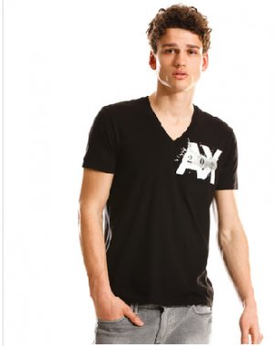 Armani Exchange Splash T Shirt Tee Black size LARGE