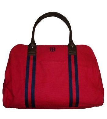Tommy Hilfiger Women's/Men's Large Duffle Gym Bag, Red/Navy