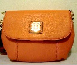 Tommy Hilfiger Bright Orange leather Crossbody front flap purse
