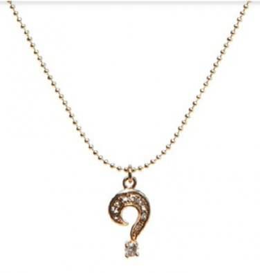 Marc by Marc Jacobs Question Mark Rhinestone Charm Necklace Gold