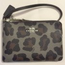 COACH grey MULTI grey, black, brown Ocelot print wristlet wallet F64238