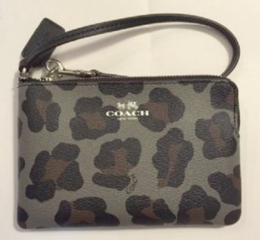 COACH grey MULTI grey, black, brown Ocelot print wristlet wallet F64238
