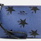 COACH Blue Black CORNER ZIP WRISTLET IN STAR CANYON PRINT COATED CANVAS (F64239)