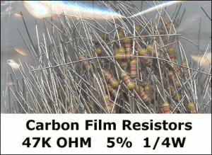 50pcs - 47k Ohm Carbon Resistors 1/4W 5% (47000 ohm)