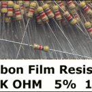 50pcs - 4.7k Ohm Carbon Resistors 1/4W 5% (4700 4k7)