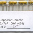 25 - 0.47uF 100V Ceramic Capacitors 0.47 mf uf (470nf)