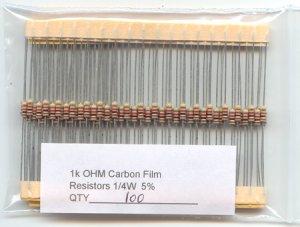 100pcs - 1k Ohm Resistors 1/4W 5% (1000 ohm 1 K carbon)