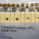 50 - 0.1uF 100V Ceramic Capacitors (100nF) 0.1 mf uf
