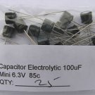 25pcs - 100uF Electrolytic Capacitor 6.3V 100 MF 100mf