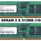 2 X 512MB (1GB Total) PC2700 333Mhz DDR RAM ECC -MICRON