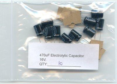 10pcs - 470uF Electrolytic Capacitor 16V 470 MF 470mf