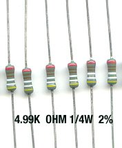 30pcs- 4.99K Ohm Resistors 1/4W 2% Metal Film (4.99 k)