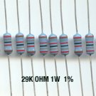 30pcs- 29K Ohm Resistors 1W 1% Metal Film (29kohm)