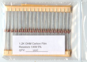 100pcs - 1.2K Ohm Resistors 1/4W 5% (1200 ohm 1.2 K)