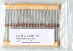 100pcs - 1.2K Ohm Resistors 1/4W 5% (1200 ohm 1.2 K)