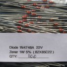 100 - 1N4748A 1W (BZX85C22) 22V ZENER DIODE IN4748A