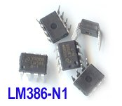 5pcs - LM386 N1 1W Low Voltage Audio Power Amp. DIP-8