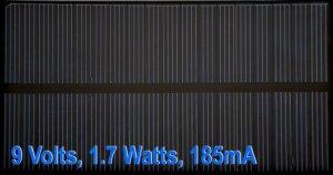Solar Panel, 9 Volts 1.7W 185mA polycrystalline