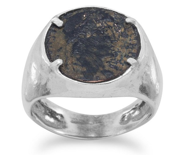 Unisex Ring Roman Bronze Coin Face Sterling Silver Band
