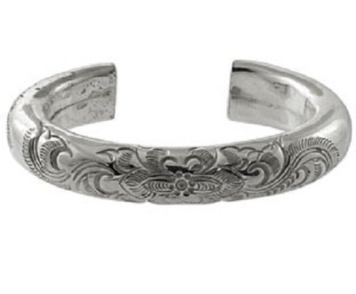 Fashion Bangle Cuff Sterling Silver Flower Design Hand-Engraved