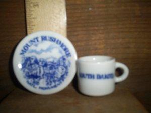 Miniature Cup & Saucer. Mount Rushmore, SD