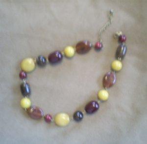 "Vintage Chunky Bead Fashion Necklace, 21""   Earthtones"